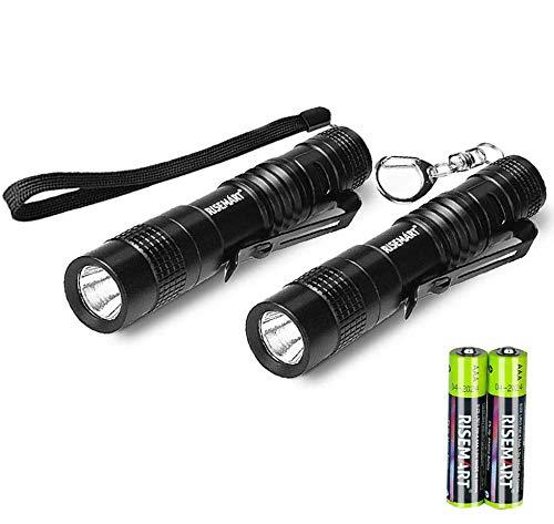 Taschenlampe Kleine RISEMART EDC Superhelle Mini Schlüsselanhänger Taschenlampe CREE LED Wasserdichte Taschenlampe Geeignet für AAA Batterie Ultrahelle (2pcs 9cm)