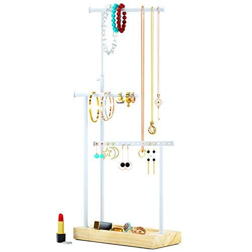RooLee - Soporte para joyas y collares (metal, gran capacidad, para almacenamiento de collares, pulseras y pendientes)