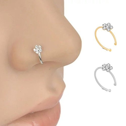 Repino Surgical Steel Rhinestone Flower Nose Ring Hoop Women's Body Piercing Jewelry