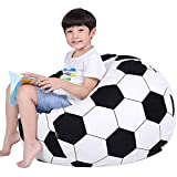 Lukeight Stuffed Animal Storage Bean Bag Chair for Kids, Zipper Storage Bean Bag for Organizing Stuffed Animals, Soccer Bean Bag Chair Cover, (No Beans) X-Large