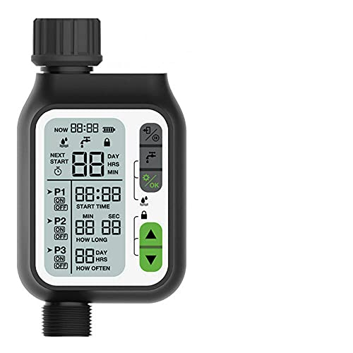 DHTOMC Reloj de riego de jardín, aspersor automático, controlador de lluvia, temporizador, dispositivo de riego para exteriores, herramienta de riego, ordenador de riego