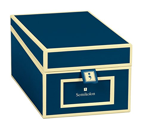 Semikolon (352638) Visitenkarten-Box mit Registern in marine (blau) - Bussiness-Card-Box - Alternative zu Visitenkartenmappe, Karteikasten