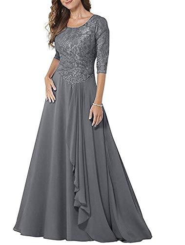 JAEDEN Abendkleider Lang Damen Hochzeitskleider Mutter der Braut Kleid Langarm Partykleider Chiffon Spitze Grau EUR46