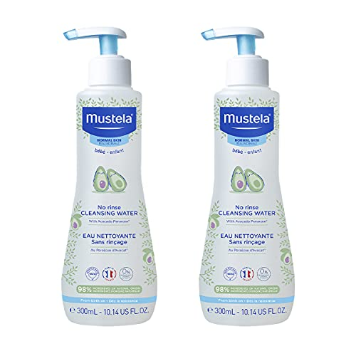 Mustela Baby Cleansing Water - No-Rinse Micellar Water - with Natural Avocado & Aloe Vera - for Baby's Face, Body & Diaper – 10.14 fl. oz. – 2-Pack