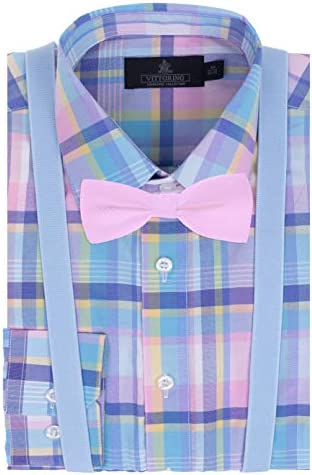 Vittorino Boys Dress Shirt with Matching Bowtie and Suspenders Set Pink Light Blue Plaid 10 product image