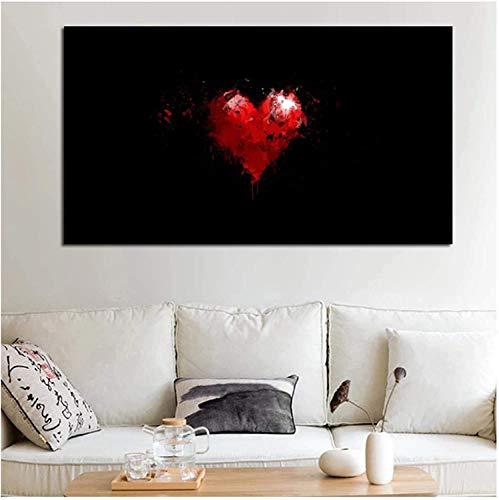 Lienzo artístico con corazón rojo y fondo negro para decor