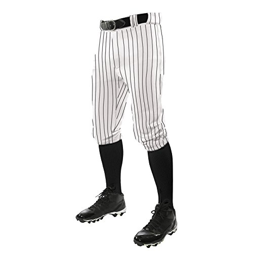 CHAMPRO Triple Crown Knicker Style Baseball Pants with Knit-in Pinstripes and Reinforced Sliding Areas, White,Black, Medium