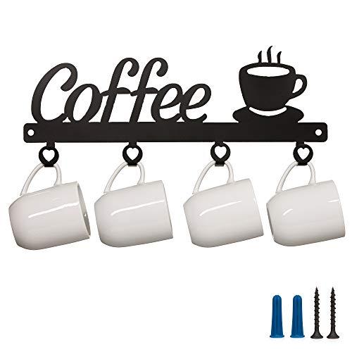 Coffee Mug Holder Wall Mounted  Coffee Bar Decor Sign Coffee Cup Rack Holds 4 Cups Coffee Sign Mug Hanger Mug Storage Coffee Signs Made in The USA Metal Coffee Mug Rack