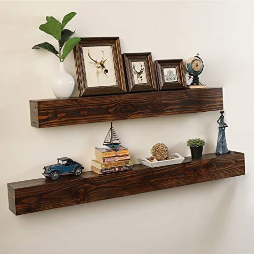"WELLAND Rustic Floating Shelf, Reclaimed Wood Wall Shelf, Fireplace Mantel Shelf Wall Mounted,Walnut Color (48"" W x 6"" D x 6"" H)"