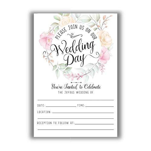 Wedding Invitations & Blank Envelopes - Set of 25 - Blank Wedding Stationery - Beautiful and Minimalist Wedding Planning Supplies for Under $15!
