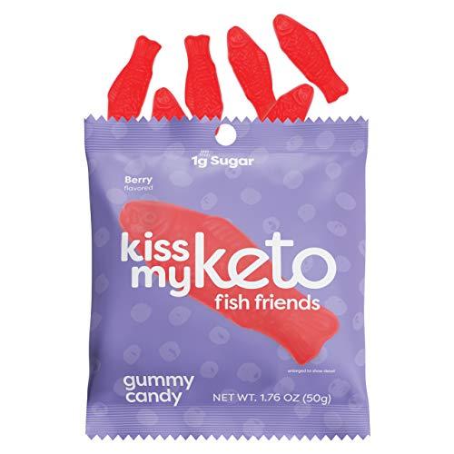 Kiss My Keto Candy Fish Friends — Low Sugar (1g), 80 Calories, Low Carb Candy Gummies with MCT Oil   Vegan Friendly, Non-GMO, Gluten Free Keto Sweets   2g Net Carbs — 6 Individually Wrapped Packs
