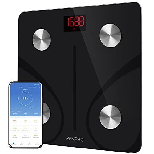 RENPHO Balance Pese Personne, Balance Connectée Bluetooth Pèse Personne Impédancemètre, Balance Impedancemetre avec 13 Données Corporelles (BMI/Graisse Corporelle/Masse Osseuse/BMR/Muscle/Eau)