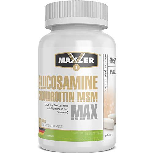 Maxler Glucosamine Chondroitin MSM Max - Glucosamin Chondroitin hochdosiert MSM Kapseln - Glucosamin Chondroitin Nahrungsergänzungsmittel - mit Vitamin C, Bromelain, Mangan - 90 Tabletten