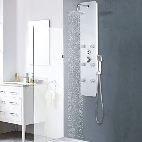 vidaXL Duschpaneel Regendusche Duscharmatur Dusch-Set Glas 25×44,6×130 cm Weiß