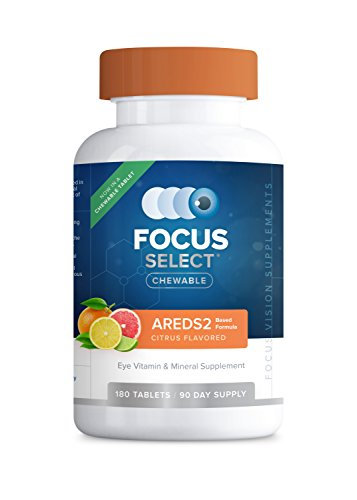 Focus Select® AREDS2 Based Chewable Eye Vitamin-Mineral Supplement - AREDS2 Based Supplement for Eyes (180 ct. 90 Day Supply) Citrus Flavored AREDS2 Based Eye Chewable - AREDS2 Low Zinc Formula