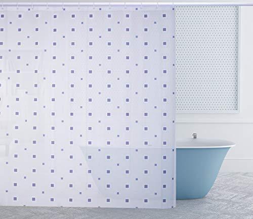 Duschvorhang 180 x 200cm Eva Wasserdicht, Anti Schimmel, Waschbar, mit 12 Ringe, Bad Vorhang für Badezimmer Badewanne (Cube Blue)