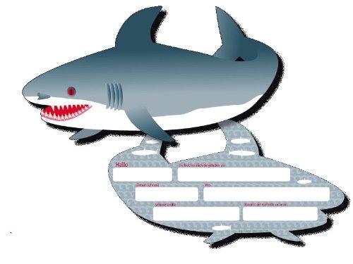 DH-Konzept 6 Einladungskarten * HAI * für Kindergeburtstag und Party MEEREKARTE018 // Kinder Geburtstag Party Einladung Einladungen Karte Glitzer Haifisch Shark Meerestiere Fisch
