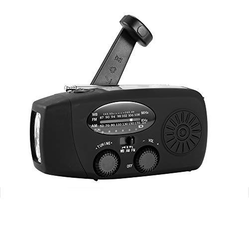AOZBZ Radio Solaire Portable, Main Manivelle Self Powered AM/FM/NOAA Radio, Dynamo Météo Radio Appareil d'urgence avec 3-LED Lampe de Poche et Chargeur de Téléphone pour Randonnée Camping