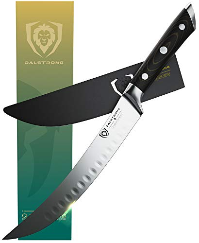 """DALSTRONG Butcher Breaking Cimitar Knife - Gladiator Series - Forged German ThyssenKrupp HC Steel - Sheath Guard Included - NSF Certified (8"""")"""