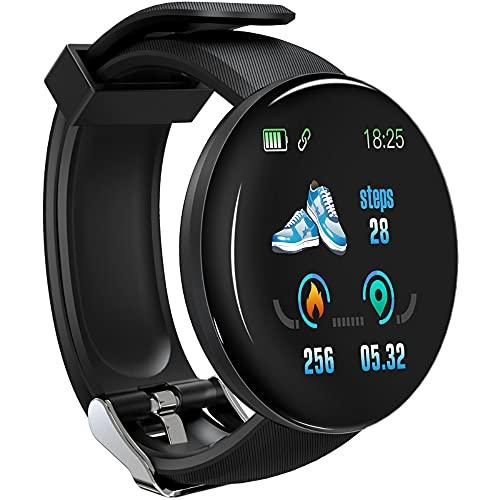 Relógio inteligente à prova d'água D18S para homens e mulheres, pressão arterial redonda, monitor de oxigênio no sangue, rastreador de atividades USB, despertador, SmartWatch compatível com Android iOS