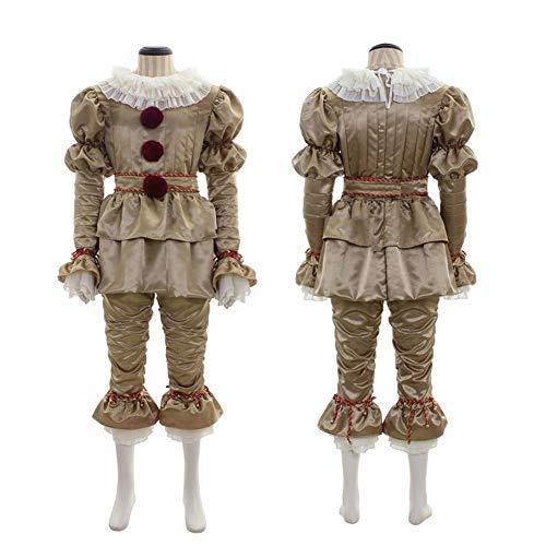 MBEN Disfraz de Payaso de Halloween, Stephen King'S It COS Penney Wise Cosplay Disfraz de Halloween Pennywise Ropa de tamaño Completo Dorado,Man,XL