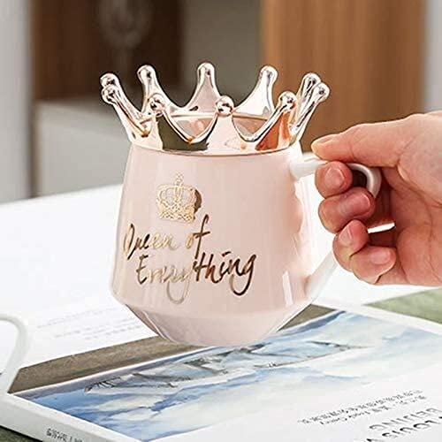 Tasse de céramique tasse de café tasse de café tasse de cha champagne tasse de cadeau avec couvercle de couronne et cuillère céramique coiffe de tasse de café pour la petite amie femme tasses boissons