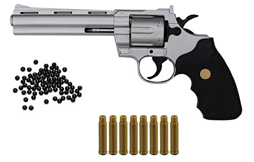 Originalgetreuer Softair Revolver Kalber 6 mm BBS - Airsoft Pistole + Munition und Patronen - Magazine - <0,5 Joule - Soft Air ab 14 Jahren - Originalgetreu 1:1, Silber