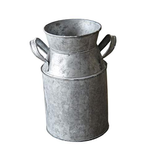 Hemoton Jarrón de hierro vintage, para la leche, de estilo rústico, decorativo, para jardín, salón o mesa