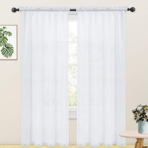 White Linen Textured Curtains 92 inches Long Semi Sheer Curtains Living Room Bedroom Basement Window Curtain 2 Panels Rod Pocket
