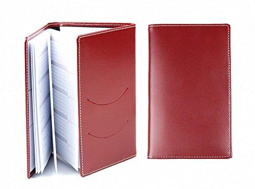 DELMON VARONE - Personalisierbarer Taschenkalender 2021 3-teilig aus Cambridge Top Grain Leder rot, Organizer Terminplaner in Lederhülle, Kalender mit Monatsübersicht - Kalendarium & Adressenheft