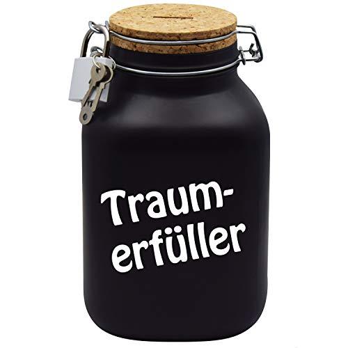 Spardose Traum-Erfüller Wunschtraum/Follow Your Dreams Geld-Geschenk-Idee in Schwarz XXL