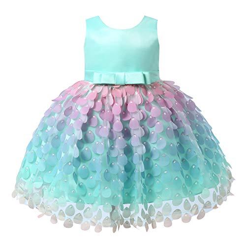 YiZYiF Baby Little Girls Fairytale Princess Mermaid Tutu Dress Pageant Birthday Party Wedding Flower Dresses Mint Green 12-18 Months
