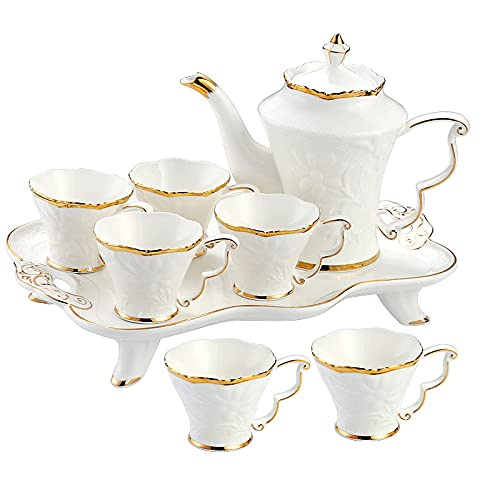 Coffee Cup And Saucer Tea Set For Adults Tea Set With Teapot Porcelain Afternoon Tea Service Flowering Tea