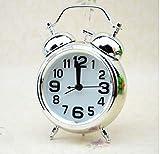 NEEPP Reloj Despertador Retro Vintage Puntero Silencioso Relojes Número Redondo Doble Campana Fuerte Alarma Reloj de Noche Luz de Noche Decoración del Hogar,
