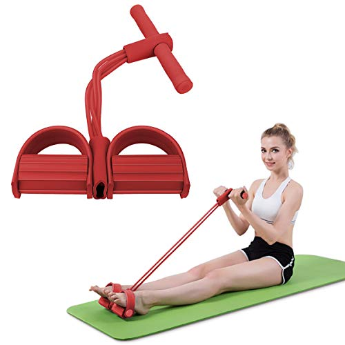 MoKo Pedal Resistance Band with Handle, 4-Tube Tension Rope Exercise Fitness Elastic Bands Pull Rope for Abdomen Waist Arm Leg Yoga Stretching Strength Slimming Training Sit up Home Workouts - Red