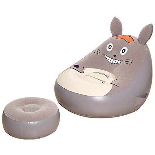 VIVITG Totoro Bean Bag Air Sofa Lounger Portable Home Tatami Inflatable Foldable Lunch Break Chair, with Footrest, 130 * 125 * 130cm