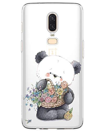 AIsoar Coque Compatible pour OnePlus 6T,TPU Silicone Protection Mignon Premium Bumper [Liquid Crystal] Ultra Mince Etui Transparent/Exact Fit/Souple pour OnePlus 6T (Panda (2))