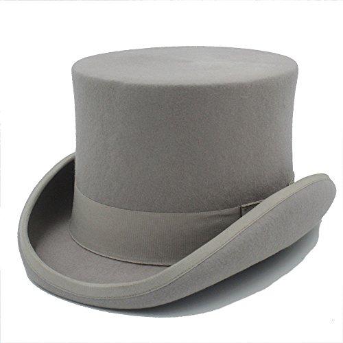 HYF Steampunk Negro Sombrerero Loco Sombrero de Copa Victorian Vintage Lana Tradicional Sombreros Sombrero de ala Ancha Sombrero (Color : Gris, tamaño : 61cm)