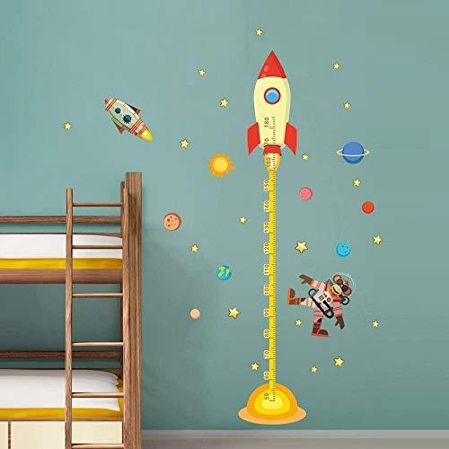 FFVVE Space Planets - Pegatinas de altura para habitación de niños, decoración de pared extraíble, para habitación de niños, habitación de bebé, sala de clases