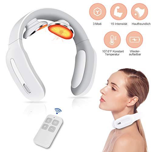 Nackenmassagegerät mit Heizfunktion intelligentes Massagegerät für Nacken Impulstherapie Impulsmassagegerät zur Muskelentspannung und Schmerzlinderung geeignet für Zuhause Büro Auto unterwegs
