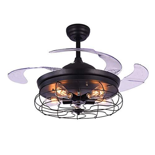 Iluminación de interior E27 Loft Ventilador de techo Acero inoxidable Acrílico Ventilador de techo Lámpara LED Lámpara de techo Lámpara de techo para el vestíbulo Tienda Ventiladores para el t