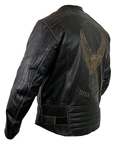 Motorrad Lederjacke mit einer Adler Prägung - 4