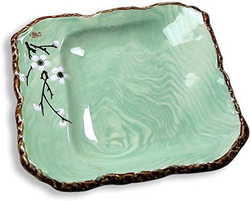 TREEECFCST Platos Vajilla Preciosa Placa de Cocina Placa de los Cubiertos Occidental Restaurante Steak Plate Desayuno Almuerzo Placa Verde (Color : Green, Talla : 25cm*25cm)