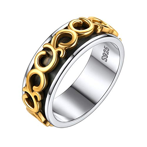 ChicSilver 925 Sterling Silver Chain Ring, Fashion Spinner Ring for Men and Women, Brass Rotating Celtic Knot Finger Ring Size 10