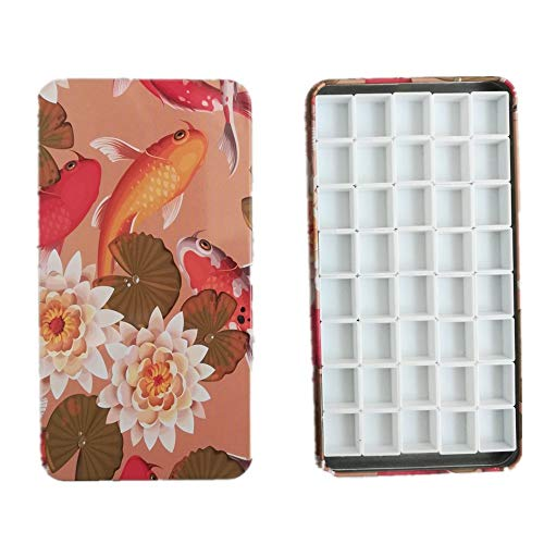BOOYEE Empty Watercolor Palette Paint Tin Case with 40 Pcs Half Pans Carrying Magnetic Stripe (Koi with 40pcs Half Pans)