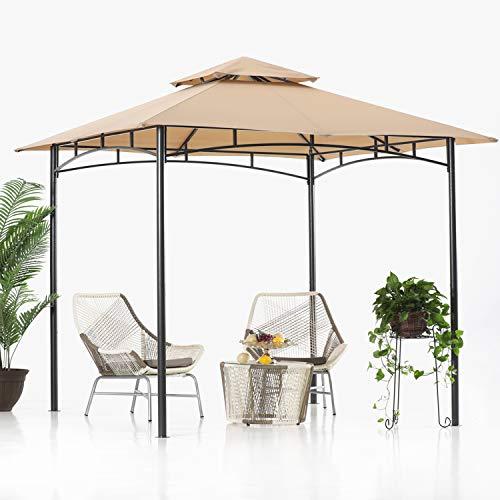 ABCCANOPY2.5x2.5m Patio Pavillon für Patios Doppeldachweichdach Garten Hinterhof-Pavillon für Schatten und Regen,Khaki