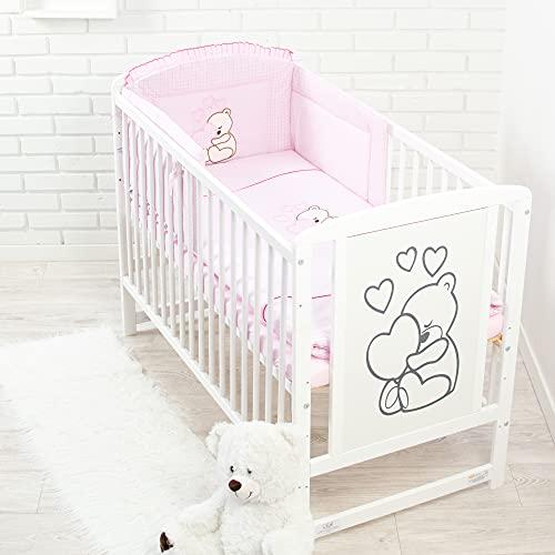 Ropa de cama para cuna de bebé, 100% algodón, conjunto completo de 3piezas con funda de edredón, funda de almohada y protector de cuna, diseño bordado de osito rosa Rose Talla:120x60cm
