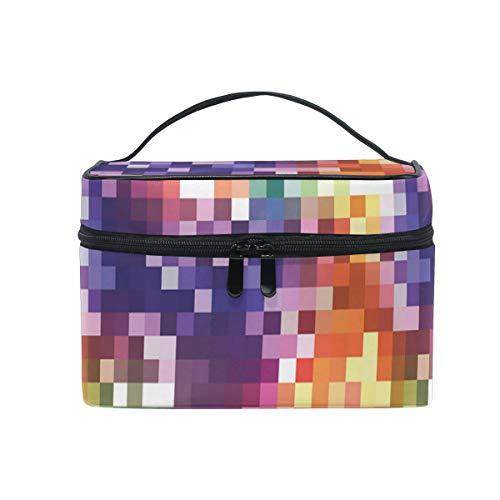 HARXISE Sac De Rangement pour Cosmétiques,Imprimé carré coloré Arc-en-Ciel,pour Cosmétique Trousse/Organisateur/Sac de Toilette