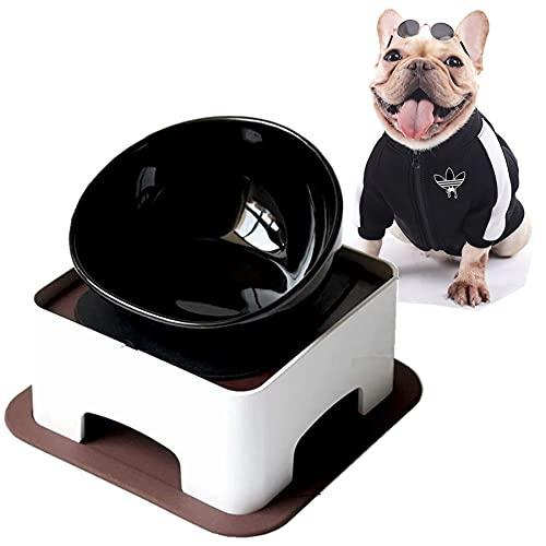 JWPC Bulldog Bowl Slanted Tilted Elevated Raised Ceramics Single Food Feeding Dish for Flat Faced Dogs /Frenchie/Pug/Cat/Puppy/Shih Tzu,Non Slip-Black