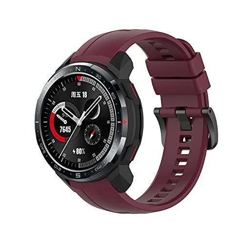 Yikamosi Compatibile con Honor Watch GS PRO Cinturino,sgancio rapido Silicone Chiusura in Acciaio Inossidabile Cinturino di Ricambio per Honor Watch GS PRO,Vino Rosso